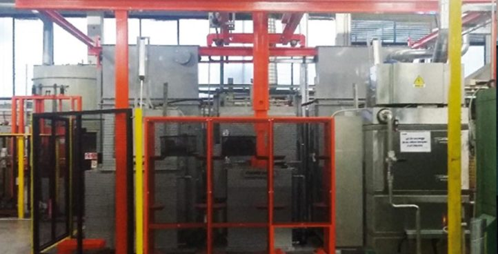Automated line for hardening heat treatments